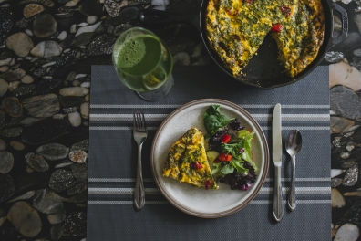 Frittata - with Greens Cherry Tomatoes and Side Salad (8)